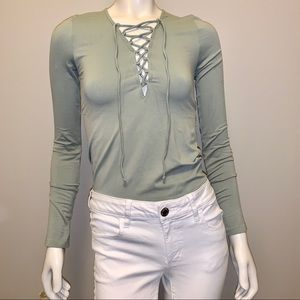 Forever 21 • Long sleeve Lace-up Top • Size Sm